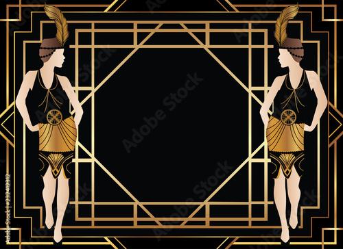 Plakaty do domu - mieszkania geometric-gatsby-art-deco-background-with-woman