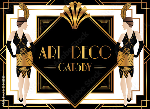Plakaty do domu - mieszkania geometric-gatsby-art-deco-design-with-fashionable-woman