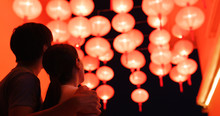 Couple Enjoy The Red Chinese Lantern