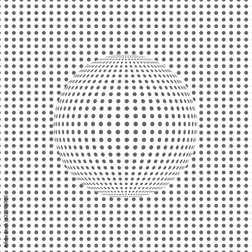 Fotobehang Pop Art Optical illusion with a dotted sphere