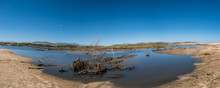 Panorama Shot Of A Drying Lake Due To Drought And Global Warming.