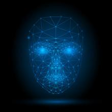 Human Face, Triangular Glowing Grid, Technology