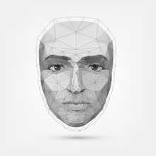 Human Face, Polygonal Mesh, Technology. Robot