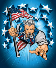 Uncle Sam Leaping Forward With American Flag