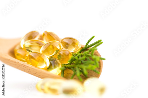 Fototapeta Healthy Vitamins, Omega 3,isolated, has a white background,Copy space. obraz