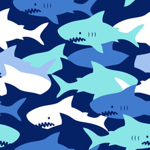 Hand Drawn Vector Seamless Camouflage Pattern With Cute Sharks On Dark Blue Background.  Perfect For Fabric, Wallpaper Or Wrapping Paper.