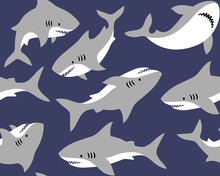 Hand Drawn Vector Seamless Pattern With Cute Sharks On Dark Blue Background.  Perfect For Fabric, Wallpaper Or Wrapping Paper.