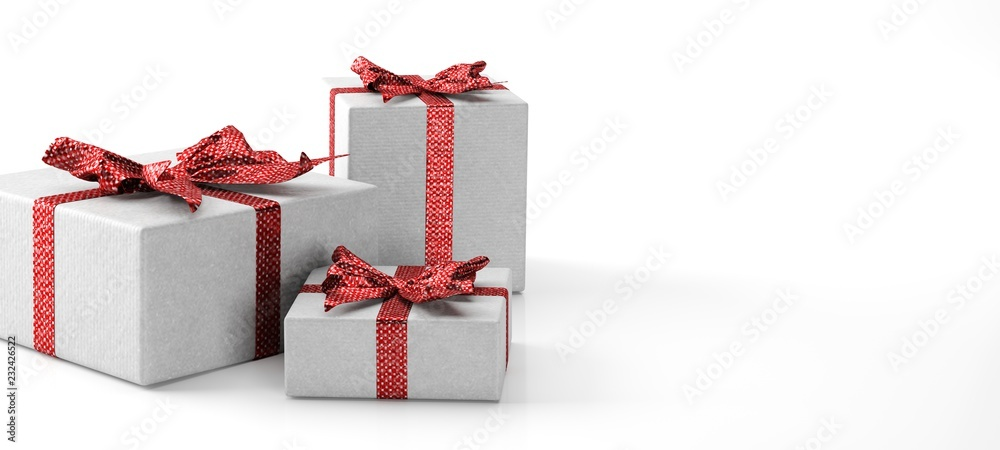 Fototapeta gift box with ribbon and red bow isolated on white
