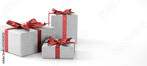gift box with ribbon and red bow isolated on white