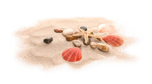 Seashells And Sand On White Background