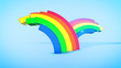 Playful Rainbow Stripes in Blue Backdrop