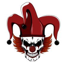 Clown Skull In Jester Hat.