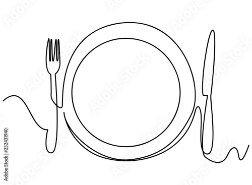 Continuous line art or One Line Drawing of plate, khife and fork Tableau sur Toile