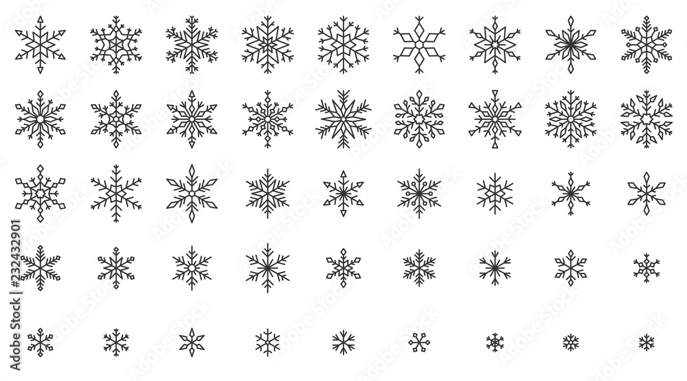 Fototapeta Snowflake simple black line icons snow vector set