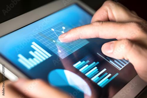Fotografie, Obraz  Business figures, graphs, chart and statistics