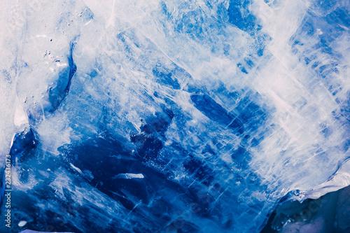 Obraz na plátně  Blue ice texture. Abstract arctic winter background.
