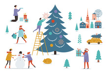 Winter Scenery. Decorating Christmas Tree.Merry Christmas And Happy New Year's Card