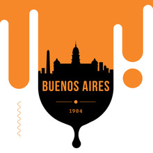 Buenos Aires Modern Web Banner Design With Vector Linear Skyline