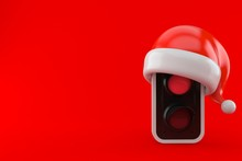 Red Traffic Light With Santa Hat