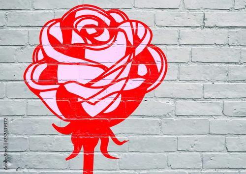 Street art. Une rose rouge © brimeux