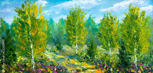 Recess Fitting Pistachio oil painting on canvas-Beautiful summer spring landscape, forest flowers, road to forest and green trees and bright nature-modern impressionism fine art