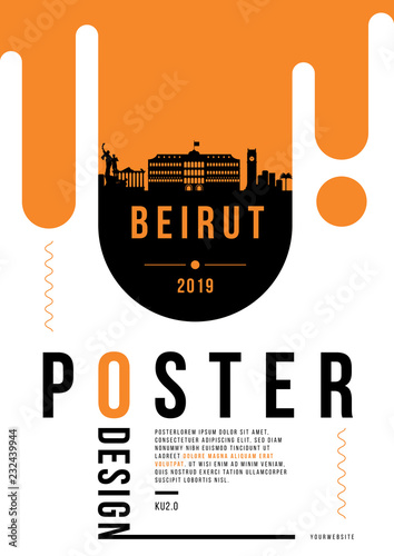 Photo Beirut Modern Poster Design with Vector Linear Skyline