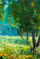 Panel Szklany Drzewa Original oil painting, contemporary style, made on stretched canvas - Beautiful large green trees on background of fence - summer landscape
