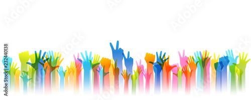 Stampa su Tela Hands up silhouettes, horizontal border