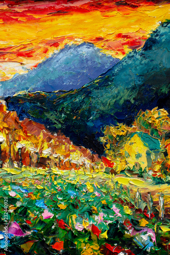 Foto auf AluDibond Blau türkis Landscape nature Artistic handmade impasto texture closeup oil painting. Abctract structure brushwork pallete knife painted on canvas