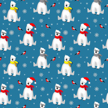 Christmas Seamless Pattern With White Polar Bear In Scarf, Snowflakes And Bullfinch Bird Isolated On Cold Blue Backgrouns. Abstract Winter Holliday Backdrop. Vector Illustration For Xmas Design