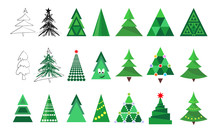 Christmas Tree Icons Collection Isolated On White Background. Decoration Set For Merry Christmas And Happy New Year.  Vector Illustration For Winter Holiday Design