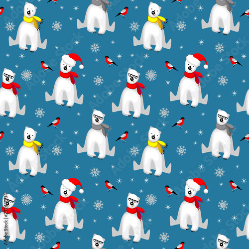 Tela Christmas seamless pattern with white polar bear in scarf, snowflakes and bullfinch bird isolated on cold blue backgrouns