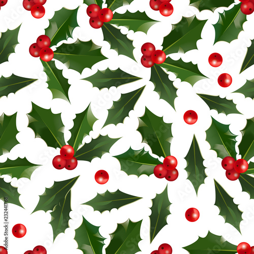 merry christmas and happy new year seamless pattern with holly berries isolated on white background