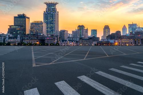 City skyscrapers and road asphalt pavement Canvas Print