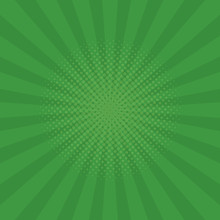 Bright Green Rays Background. Comics, Pop Art Style. Vector Illustration