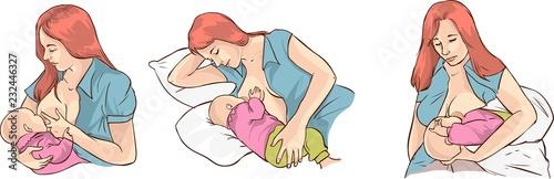 Illustration of a Woman  baby Breastfeeding techniques Fototapeta