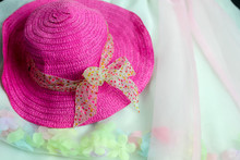 Girl's Pink Straw Sun Hat With...