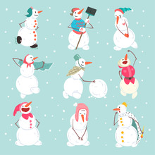 Funny Snowmen Characters Set I...