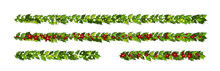 Christmas Decorations With Red Poinsettia Flowers And Holly Leaves And White Berries. Horizontal Garlands