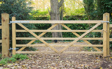 5 Bar Wooden Gate In A Fence L...