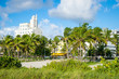Bright scenic view of the South Beach skyline with palm trees from the greenery of sand dunes in Miami, Florida, USA