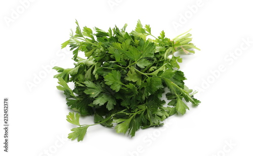 Fresh green parsley leaves, bundle isolated on white background