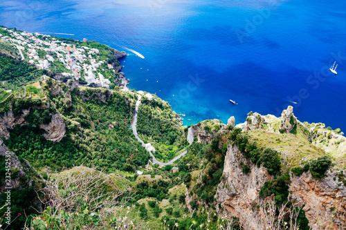 Fototapeta Breathtaking aerial view from Sentiero degli Dei - The Path of the Gods hike, Amalfi Coast, Southern Italy highlight  obraz