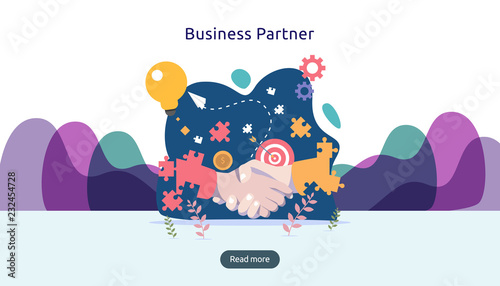 Business partnership relation concept with hand shake and tiny people character Fototapet