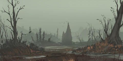 The Desperate Land. Fantasy Topic. SpitPaint. Concept Art. Fast Drawings. Sketch Paint. Realistic Style. Video Game Digital CG Artwork, Concept Illustration, Realistic Cartoon Style Scene Design