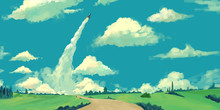 A Bright Day For Missile Launch. Realistic Style. Video Game Digital CG Artwork, Concept Illustration, Realistic Cartoon Style Scene Design
