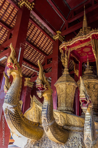 Fotografie, Obraz  Naga on the ceremonial barge in the funeral hall of Wat Xieng Thong