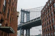 Manhattan bridge view from Brooklyn Dumbo neighborhood.