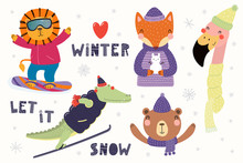 Big Set With Cute Animals In Winter, Playing In The Snow, Skiing, Snowboarding. Isolated Objects On White. Hand Drawn Vector Illustration. Scandinavian Style Flat Design. Concept For Children Print.