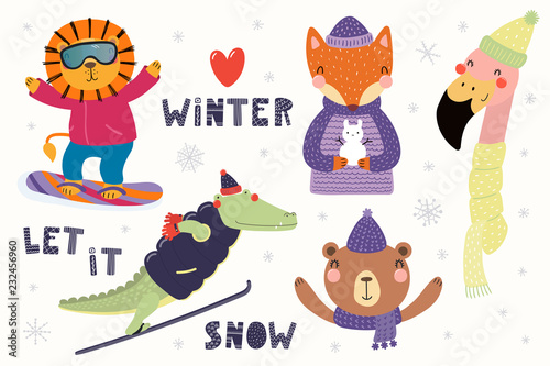 Spoed Fotobehang Illustraties Big set with cute animals in winter, playing in the snow, skiing, snowboarding. Isolated objects on white. Hand drawn vector illustration. Scandinavian style flat design. Concept for children print.